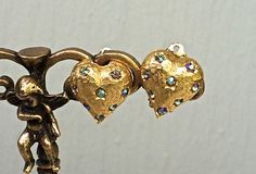 Sparkling gold heart clip on earrings, Vintage Weiss costume jewelry, vintage jewelry, vintage earrings, Sweethearts, TwoSwansSwimming by TwoSwansSwimming on Etsy