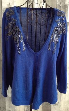 Free People Wool Blend Cardigan Sweater Top Beaded Sequin Swing Shape Size Large #FreePeople #Cardigan