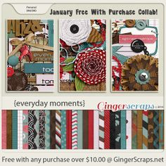Just two days left for the Free With Purchase at the GingerScraps Store! Spend $10 or more at the GingerScraps Shop and you'll get this lovely collaboration made by our wonderful Designers! Valid until 01/31. Everyday Moments; http://store.gingerscraps.net/Everyday-Moments.html. 01/30/2014