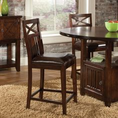 Fancy Distressed Bar Stool Offers Straight Square Block Legs and X-Motif in Upper Back also Warm Medium Oak Color with Slight Burnishing. #Netnoot #BarStools