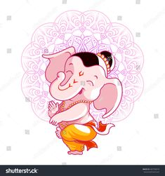 Find Little cartoon Ganesha. Vector cartoon illustration on a pink spotted background. Stock Images in HD and millions of other royalty-free stock photos, illustrations, and vectors in the Shutterstock collection. Ganesha Drawing, Lord Ganesha Paintings, Lord Shiva Painting, Pintura Ganesha, Arte Ganesha, Ganesha Pictures, Ganesh Images, Hare Krishna, Baby Ganesha