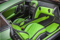 Nissan GT-R custom interior lime green and black hexagon stitch pattern