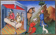 Cannibalism (Anthropophagie), Le Livre des merveilles de Marco Polo.  Paris, Bibliothèque Nationale, Département des manuscrits, Français 2810, folio 74v