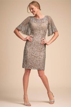 4ffc9df0e63 BHLDN Helen Dress - mother of the bride mother of the groom dress -  platinum silver sequin dress - A shimmering knee-length number