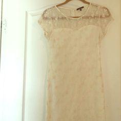 Sheer Floral Dress Sheer Knee Legnth Dress. Floral Print, Fitting, Cream color Dresses