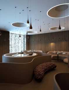 TWISTER RESTAURANT BY SERGEY MAKHNO & VASILIY BUTENKO. Love the shapes-- look at that bench!