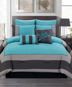 Blue & Smoke Barcelona Comforter Set. Love the colors!
