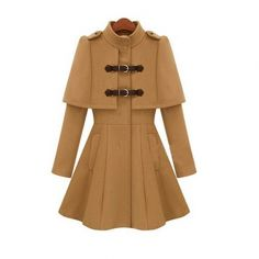 Stand Collar Cloak Shaped Winter Coats For Women