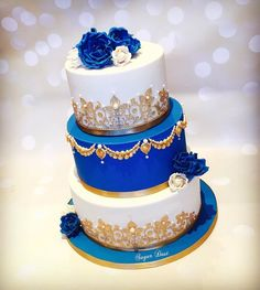 A royal blue & ivory cake for the lovely Lavanya for Saturday's wedding, many congratulations to the happy couple! relationship wants / royal blue dress for wedding / royal blue wedding dress / blue wedding dress royal / royal blue wedding Royal Cakes, Royal Blue Cake, Royal Blue Flowers, Royal Blue And Gold, Blue Ivory, Royal Red, Blue Gold, Blue Yellow, Yellow Flowers