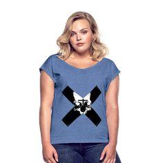 Geschenke Shop | Totenkopf Kreuz - Frauen T-Shirt mit gerollten Ärmeln V Neck, Tops, Fashion, Funny Presents, Skull And Crossbones, Women's T Shirts, Chic, Cotton, Moda
