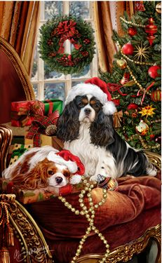 """New for 2015! Cavalier King Charles Spaniel Christmas Holiday Cards are 8 1/2"""" x 5 1/2"""" and come in packages of 12 cards. One design per package. All designs include envelopes, your personal message, and choice of greeting.Select the inside greeting of your choice from the menu below.Add your custom personal message to the Comments box during checkout."""