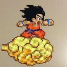 Kid Goku on nimbus perler bead sprite by saladbrains
