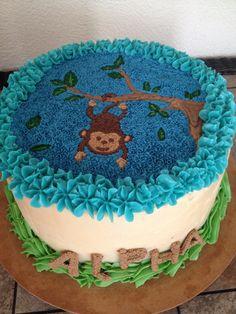 Baby shower monkey buttercream chocolate cake by Arte, amor y sabor Repostería personalizada