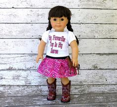 "Cowgirl Doll Clothes Bandana Skirt and Embroidered Tee Shirt, by SewFunDollClothes  Tee shirt says ""My Favorite Toy Is My Horse""!"