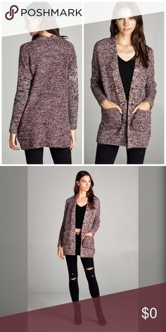 Arriving soon! Burgundy cardigan sweater w/pockets Tunic length- black marled open sweater cardigan with pockets! Sweaters Cardigans
