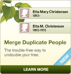 If you discover that you've entered the same person in your tree twice, you can now merge them together (instead of deleting one). This way you don't lose any of the relationships, facts, photos, or stories you've entered. Click the image to learn more. #genealogy #familytree
