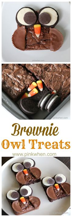 Super Cute and easy Brownie Owl Treats. We love making these on the weekends! If you can't find candy corn, use gumdrops!
