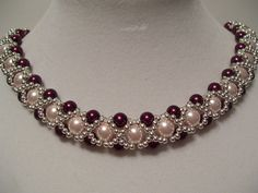 Vintage Pink and Wine Pearl Beadwork Necklace Choker with Silver  Bead Accents