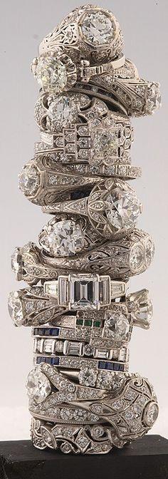 Antique engagement rings, Antique wedding rings, filigree, halo, baguette, channel set, openwork, split shank, bride, wedding, bridal, weddi...