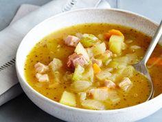 Pumpkin Soup with Sage and Ham