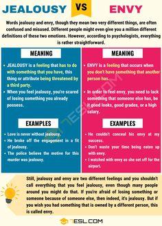 JEALOUSY vs ENVY: Differences between Envy vs Jealousy - 7 E S L