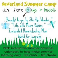 July Summer Learning Fun With The Neverland Summer Camp with FREE interactive summer activity calendar!