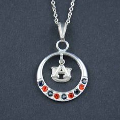 Rhinestone Open Drop Auburn Necklace  Shop our fabulous jewelry boutique for a great selection of Auburn jewelry! Our Auburn charms, necklaces, and earrings will surely complete your fabulous outfit for game day! Come and see for yourself at www.fabfanshop.co... where we have the most fab collection of Auburn University jewelry!