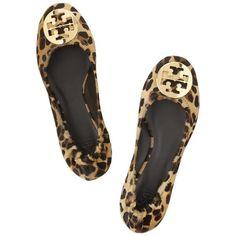 Tory Burch Reva leopard-print calf hair ballet flats ❤ liked on Polyvore