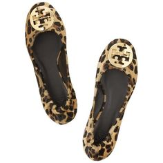 Tory Burch Reva leopard-print calf hair ballet flats ($195) ❤ liked on Polyvore