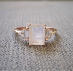 """Antique Moonstone Moissanite and Diamond Engagement Ring Emerald Cut Baguette Classic Rose Gold timeless PenelliBelle Rustic """"The Margo"""" by PenelliBelle on Etsy"""