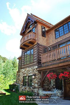Exterior View of t his Hybrid Log & Timber Home by PrecisionCraft Log Homes & Timber Frame, via Flickr