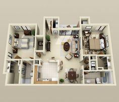 50 plans 3d d 39 appartement avec 2 chambres architecture hauts et paris - Lay outs huis idee ...