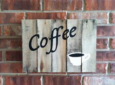 Rustic Coffee Sign on birch pallet wood on Etsy, Sold