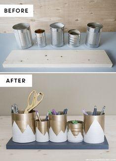 15 Unique DIY Desk Organizing Ideas: Can Organizer - Diy and Crafts Home Desk Organization Diy, Diy Desk, Diy Storage, Organizing Ideas, Storage Ideas, Storage Solutions, Upcycled Crafts, Recycled Cans, Diy Crafts