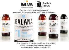 El viernes 26 de junio a las 20:30 tenemos una cata de cinco cervezas de Galana para nuestros paladares por sólo 15 euros! Reservas: 915 324 914 o cata@palmabrew.com  Cervezas a catar: – Galana #1, – Galana #3, – Galana #5, – Galana #11, Galana #12  Más información: Día: 26/06/2015 Hora: 20:30 h Plazas disponibles: 15 Precio: 15€ Lugar: Palma Brew, Calle de la Palma 50. Reservas: 915 324 914 o cata@palmabrew.com