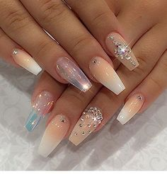 Nail designs with rhinestones ombre nails pastel shiny polish and crystals Glam Nails, Hot Nails, Fancy Nails, Bling Nails, Beauty Nails, Hair And Nails, Stiletto Nails, Jewel Nails, Coffin Nails
