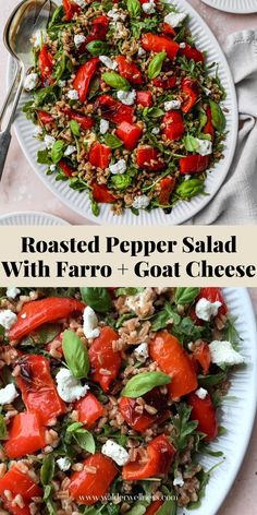 This easy roasted pepper salad recipe is made with farro, goat cheese, arugula, basil, and a simple white wine + lemon vinaigrette dressing. It can be enjoyed warm or cold, and served as either an entree style salad or as a side dish. Summer Salad Recipes, Healthy Salad Recipes, Summer Salads, Farro Recipes, How To Cook Farro, Lemon Vinaigrette Dressing, Large Salad Bowl, Roasted Peppers