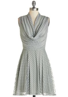 Sublime and Sweet Dress. Your unique beauty is underscored by this grey polka-dotted dress as you sway into the party! #grey #modcloth