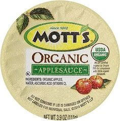 Mott's Organic No Sugar Added Apple Sauce, 3.9 Ounce, 36 Count