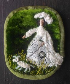 Lady whith a dog. Christmas Bulbs, Human Faces, Textiles, Holiday Decor, Stitches, Dog, Lady, Home Decor, Needlepoint