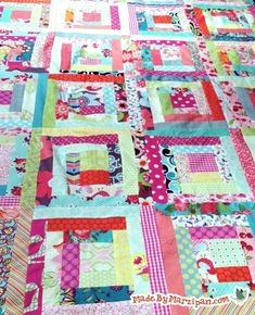 Best tutorial for Log Cabin quilt block. Includes how-to video!