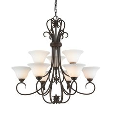 Golden Lighting Homestead 2 Tier - 9 Light Chandelier in Rubbed Bronze with Opal Glass
