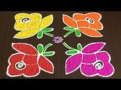 BEAUTIFUL ROSE RANGOLI DESIGNS WITH 8 TO 8 | EASY COLOURS FLOWER KOLAM - YouTube