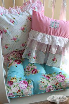 Monogrammed decorative pillow custom made by MissPolly'sPieceGoods. #pillow #monogram #ruffles #pink #vintage #nursery https://www.etsy.com/listing/74888161/custom-baby-crib-bedding-design-your-own