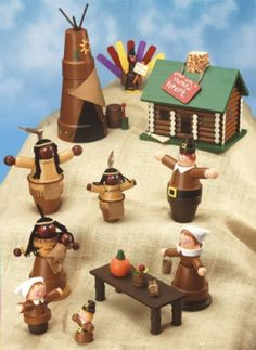 Thanksgiving village clay pots birdhouse Michael's craft for kids. Flower Pot Art, Clay Flower Pots, Flower Pot Crafts, Clay Pot Projects, Clay Pot Crafts, Diy Clay, Diy Projects, Thanksgiving Crafts, Thanksgiving Decorations
