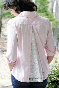 Sew an Anthropologie inspired top with a lace insert and a plain shirt, tutorial at Mel Maria Designs. Sewing Hacks, Sewing Tutorials, Sewing Patterns, Sewing Tips, Sewing Ideas, Tutorial Sewing, Clothes Patterns, Umgestaltete Shirts, Lace Shirts