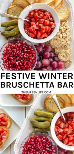 This festive winter bruschetta bar comes together with traditional bruschetta ingredients plus pomegranate seeds, pickles, grapes, crackers, nuts, and more! The best christmas appetizer.