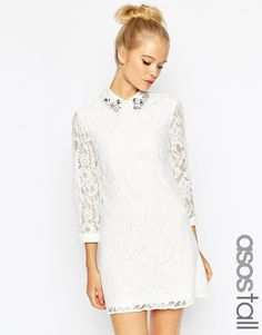 d4dce673e74a ASOS TALL Lace Shift dress With Embellished Collar at asos.com. Vit KlänningEnkla  BröllopInbjudningarDrinkarKlänningarSpetsPrydnaderVitBomull