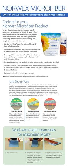 How to use and care for your Norwex microfiber! View more info here: http://www.fastgreenclean.com/2013/11/norwex-microfiber-faq.html