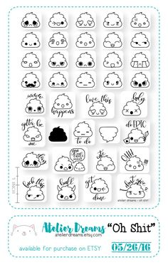 OH SHIT!- Planner Stamps (Photopolymer Clear Stamps) poop stamps, kawaii poop, shit stamp, kawaii shit - Only Ring! Doodle Bullet Journal, Bullet Journal Inspiration, Journal Ideas, Bullet Journal Mood, Doodle Art, Doodle Drawings, Kawaii Drawings, Cute Drawings, Sketch Note